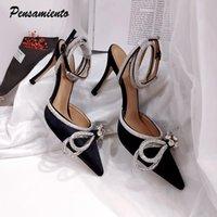Новые 2021 женские сандалии элегантные заостренные носки высокие каблуки свадебные одежды обувь женщина атлас кристалл лодыжки ремешок гладиатор сандалии 210301