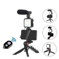 Vlog tiro kits estúdio fotografia terno com microfone led encher tripé leve para câmera de smartphone gravação de vídeo