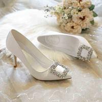 الكورية نمط وأشار عالية الكعب أحذية الزفاف الأبيض الزفاف صغير الحجم 33-43 الأحجام حزب اللباس 210610 A4H9