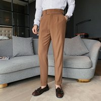 Men's Pants 2021 Design Men High Waist Trousers Solid England Business Casual Suit Belt Straight Slim Fit Bottoms White Clothing