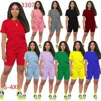 Jogger Suit 2 PCS Наборы Женщины Хлопок Сцелесы Летняя Одежда Повседневная Стерев на йога Спортивная одежда Футболка + шорты с короткими рукавами 3307