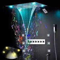 욕실 음악 블루투스 샤워 세트 LED 비 안개 Wayfall 마사지 600x800mm 샤워 패널 바디 Jets 온도 조절 식욕