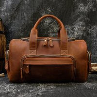 Duffel Bags MAHEU Crazy Horse Leather Travel Handbag With Shoulder Strap Totes Overnight Duffle Mens Hand Luggage For One Day