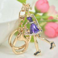 Keychains Office Lady Key Buckle Keyring Fashion Jewelley For Women Cute Rhinestone Crystal Charm Pendant Bag Chain Christmas Gift