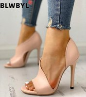 2020 mujeres bombas zapatos mujer moda bombas sexy tacones altos talones verano un aumento de stiletto peep toe sandalias boda fiesta zapatos cuña q9eb #