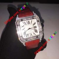 2021 Moda 100-XL Men Square Relojes cuadrados 40mm Diamante Reloj de cuero Correa de cuero Movimiento automático Iced Out Mens Watche