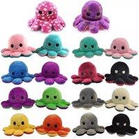 2021 Gefüllte Plüsch Reverse Toys Poulpe Retroflexion Octopu Weiche doppelseitige Flip Lustige Emotion Pulpo Puppe Peluches Squishy