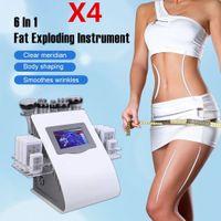 X4 6 en 1 Ultrasound Cavitation Machine 40K Ultrasonic Cavitation Lipolaser RF Vaccum minceur Perte de poids corporel Cavi Lipo Contouring DHL