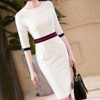 2021 Новое поступление Элегантное o Шеиные платья Женщины Высокое Качество Офис Леди Официальные Бизнес Работа Тонкий Карандаш Одежда Платье Плюс Размер X0521