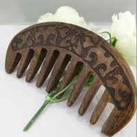 Hair Brushes 1PCS Black Sandalwood Comb Super Wide Tooth Straight And Curly Massage Wooden Pocket Beard