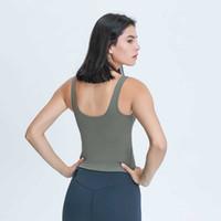 Yoga Outfits Женские V-образные вырезывания тренировки Tops Tops Slim Fit Cotton Seep yellow Йога Спортивный танк Верхние Жилет Без рукавов Рубашки с съемными колодками