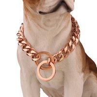 Chaînes de chien de choquillage de largeur de 19mm avec serrure de sécurité pour grand moyen Pitbull Bulldog Dogs Gold Argent Black Dog Colliers forts robustes lourds