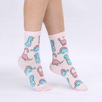Modeager fashion casual Pink color Cute Animal Dinosaur Socks for Women Ladies Harajuku Funny Japan Kawaii Women Socks