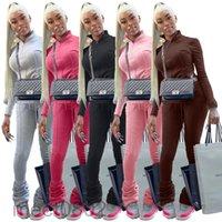 2021 Designer fall winter women tracksuit long sleeve zipper top fashion pile up pants two piece set jogging suits