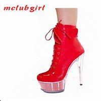 McLubgirl Mulheres Bombas Luz Brilhante PU Bag cabeça Inferior Vestido de noite Vestido Sapatos The Club Super High Heel Sapato Modelo Boot. Lyp K6mo #