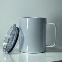 12 أوقية التسامي القهوة القدح مع مقبض الفولاذ المقاوم للصدأ زجاجة المياه نقل الحرارية الشرب كوب أبيض أكواب فارغة a02
