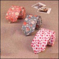 Neck Fashion Aessoriesneck Ties 6Cm Skinny Floral Tie For Men Cotton Women Dress Wedding Butterfly Gift Bow Cravat Aessory Custom Logo1 Drop