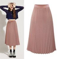 High Waist Pleated Skirts Womens Plus Size Spring Atumn Eleg...
