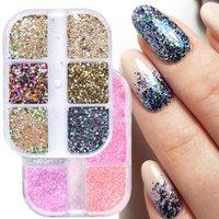 Nail Glitter 6 Grids Mixed Color Granulated Sugar Irregular Grain Coarse Powder Flash Sequin Chrome-plated Polish