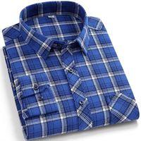 Men's Casual Shirts Mens Flannel Long Sleeve Regular Fit Autumn Winter Warm Plaid Dress Shirt Model Plus Size Top Blouse Clothing