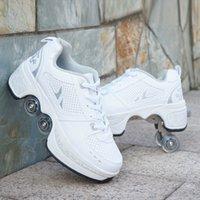 Chaussures chaudes Sneakers Casual Walk + Skates Déform Skates de roue pour hommes adultes Femmes Couple Unisexe Couple Enfourée Patins à quatre roues C0308