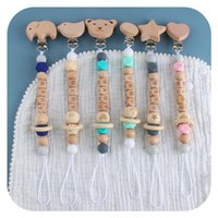 Pacifiers# Custom Baby Personalize Name Pacifier Clip Silicone Beech Beads Binky Chain Chew Teether Toys Nipple Holder