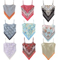 Women's Tanks & Camis Fashion Printed Halter Bellyband Outside Wear Vest Women Travel Holiday Sexy Chic Tank Top Backless Wrap Knot