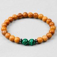 Link, Chain Natural Wood Malachite Beads Handmade Stone Stretch Men Women Bracelets Unisex Ethnic Jewelry Unique
