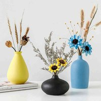 Nordic Home Mobiliário Morandi Colorido Fosco Cerâmica De Desktop Ation Sala de Living Decor Flower Vaso