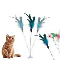 القط لعبة عصا ريشة العصا مع جرس الماوس قفص البلاستيك الاصطناعي ملون دعابة لعب الحيوانات الأليفة اللوازم عشوائية اللون FWB10231