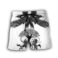 Tessffel Viking Dövme Savaşçı Legend Sembol Harajuku Newfashion Erkekler / Kadınlar 3Dprint Yaz Streetwear Plaj Şort Kısa Pantolon A1 L0309