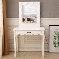 침실 가구 크리 에이 티브 노르딕 FCH 관대 한 거울 화이트 싱글 펌핑 발 전구 차가운 빛 드레싱 테이블