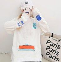 Fashion autumn long sleeve letter print couple hoodies sport striped oversize women loose hoodies vintage male sweatshirts