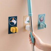 Broom Mop Holder Hooks Clamp Självhäftande återanvändbar Nej Borrning Super Anti-Slip Väggmonterad Storage Rack Hem Badrum Arrangör