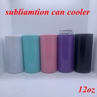 DIY Heat Sublimation Can Cooler 12oz Slim Straight Can Insulator Blank Skinny Double Wall Stainless Steel Vacuum Cooler sea ship FWE9498