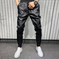 Men's Pants Winter Thick Warm PU Leather Men Clothing 2021 Simple Big Pocket Windproof Casual Motorcycle Trousers Black Plus Size