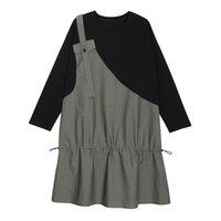 Casual Dresses Oversize Drawstring Panelled Dress Autumn 2021 Women Loose Spliced Ruffles Full Sleeve O-Neck Collar Fashion Tops