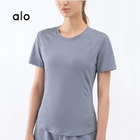 Yoga Outfit Alo 2021 Summer Women's Short-sleeve Sexy Mesh Stitching T-shirt Breathable Quick-drying Sports Fitness Running Top DS114