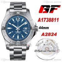 GF Colt Otomatik 44mm ETA A2824 Otomatik Erkek İzle Çelik Kılıf Mavi Arama Paslanmaz Çelik Bilezik En Iyi Baskı A1738811 Ptbl Puretime 34B2