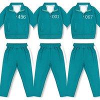 Unisex-Tintenfischspiel Green Trainingsanzug Zwei Teile Outfits Reißverschluss Jacke Mantel Hoodie Tops und Hosen Sportswear 456 240 212 067 001 218 Cosplay Kostüme Halloween G02I43V