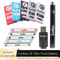 Cookies Twired аккумулятор SF SLIM 350 мАч Нижний 3.3-4.8 В Предварительно нагрев VV Картридж Калифорния Vape Blister Battery Peen для 510 Тележки