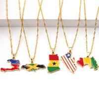 Новая Страна Карта Флаг Ожерелье Африка Гвинея Конго Подвеска Сеть Ожерелья Мода Ювелирные Изделия Друзья Подарки A0607