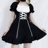 QWEEK kadın hizmetçi elbise Kawaii Lolita Kıyafet Hizmetçi Kostümleri Cosplay Bandaj Elbise Fransız Hizmetçi Üniforma Garson Elbise Puf Kollu 210309