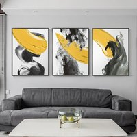 Paintings Modern Canvas Abstract Yellow Black Posters And Prints Bright Gray Painting Art For Living Room Nordic Wall Pictures