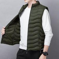 Men's Vests Down Cotton Vest Boys' Light And Thin With Campshoulder Vest, Autumn Winter Coat Korean Fashion Handsome Youth