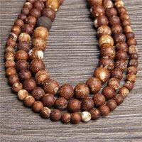 15,5 Винтажные тибетские агаты буддизма буддизмов 6 8 10 мм натуральный трещин Круглый камень для DIY для создания браслета ожерелье ювелирные изделия