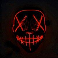 10 stykes LED masque halloween fête masque masque masque néon masque lueur dans le mascara sombre mascara masque de masque rougeoyant