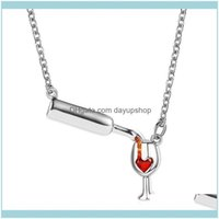 & Pendants Jewelrycrystal Red Heart Wine Bottle Necklaces Women Rhinestone Rose Gold Sier Color Love Glass Pendant Charm Jewelry Clavicle Ch