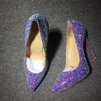 2021 여성 최고 품질의 여성 신발 레드 도충 하이힐 섹시한 뾰족한 발가락 솔 펌프 로고 먼지 가방 결혼식 신발