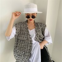Spring New design Women Fashion Houndtooth sleeveless vests jacket outwear casual brand WaistCoat gilet femme T200820